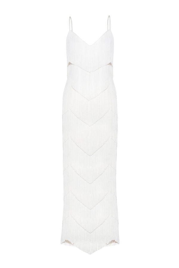 vestido flecos novia