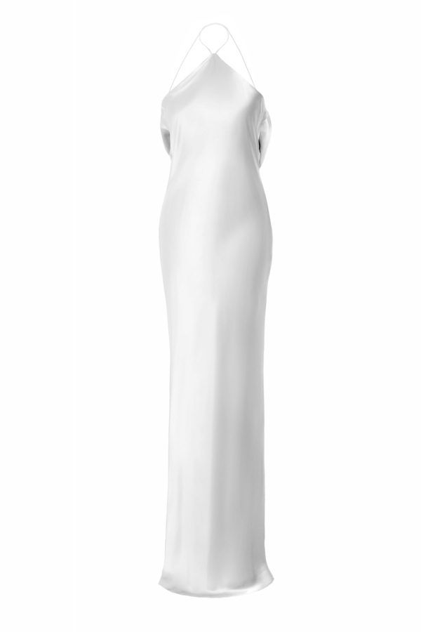 Vestido seda natural Gabrielle natural white silk dress