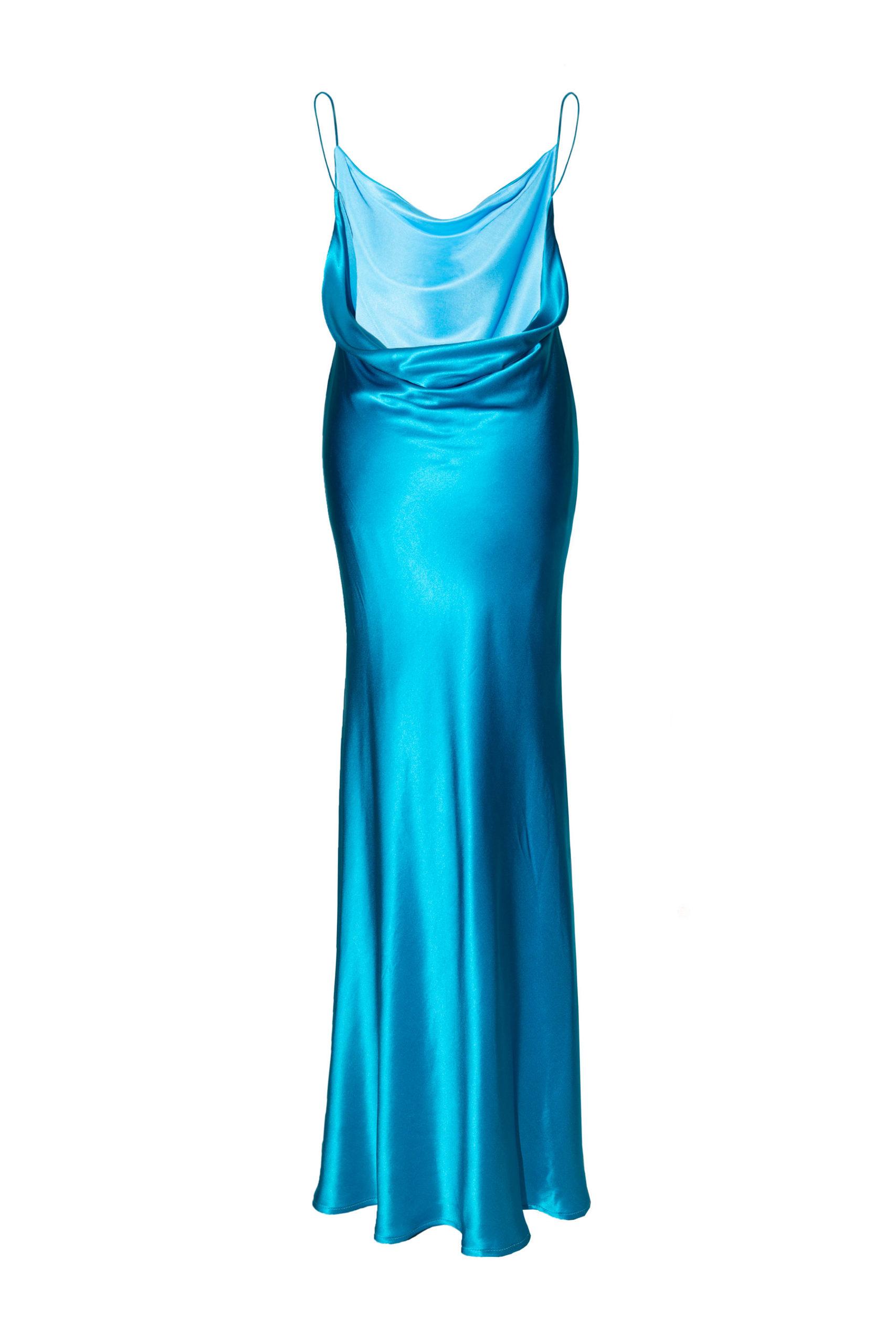 Frida blue natural silk dress