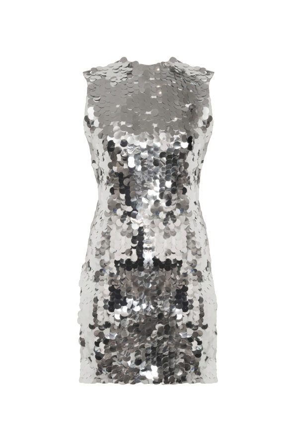 Vestido lentejuelas sin mangas Mermaid mirror silver dress