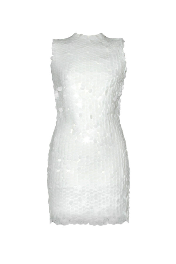 vestido lentejuelas blanco Mermaid short white dress