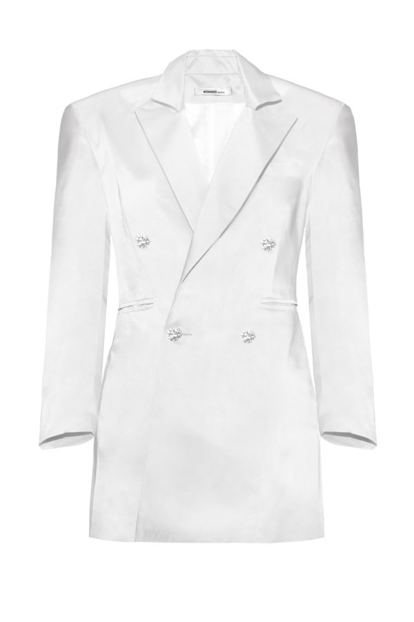 chaqueta vestido blanco The Tuxedo pearl smoking
