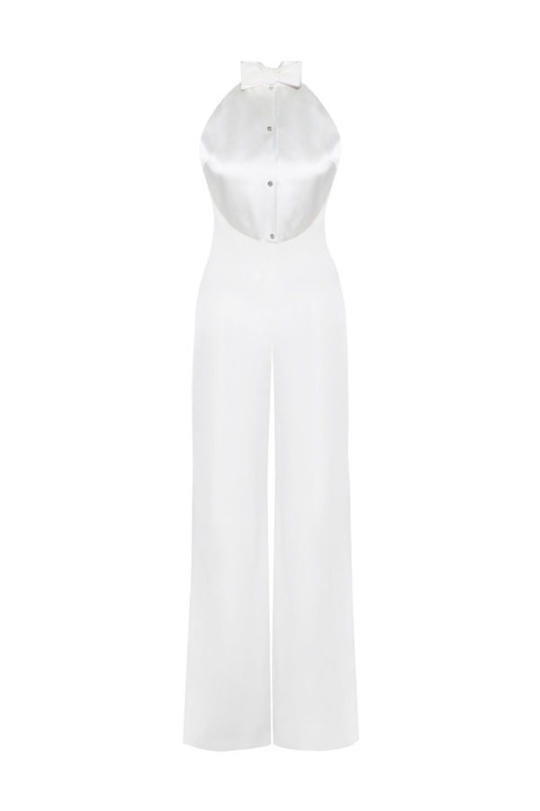 mono de novia The Penguin white jumpsuit