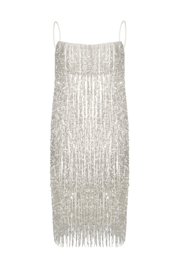 Vestido flecos blanco perlado perla Crystal white dress