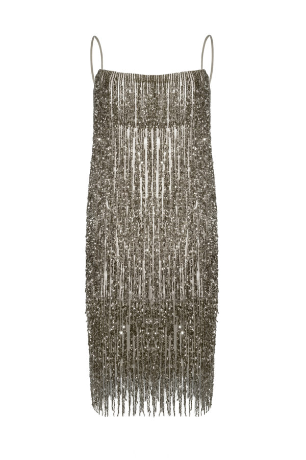 Vestido flecos marengo Crystal Grey dress