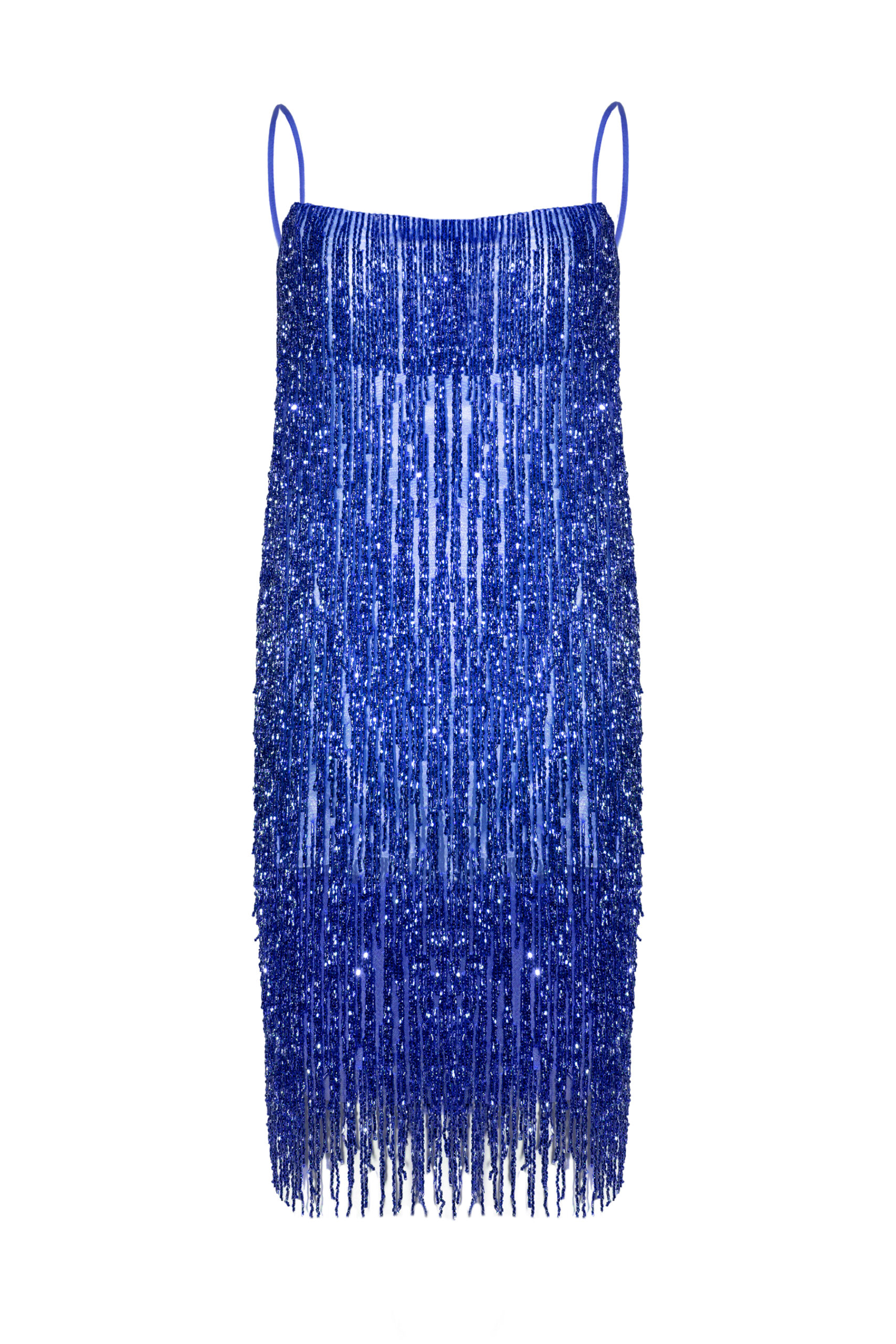Vestido flecos azul Crystal indigo blue dress