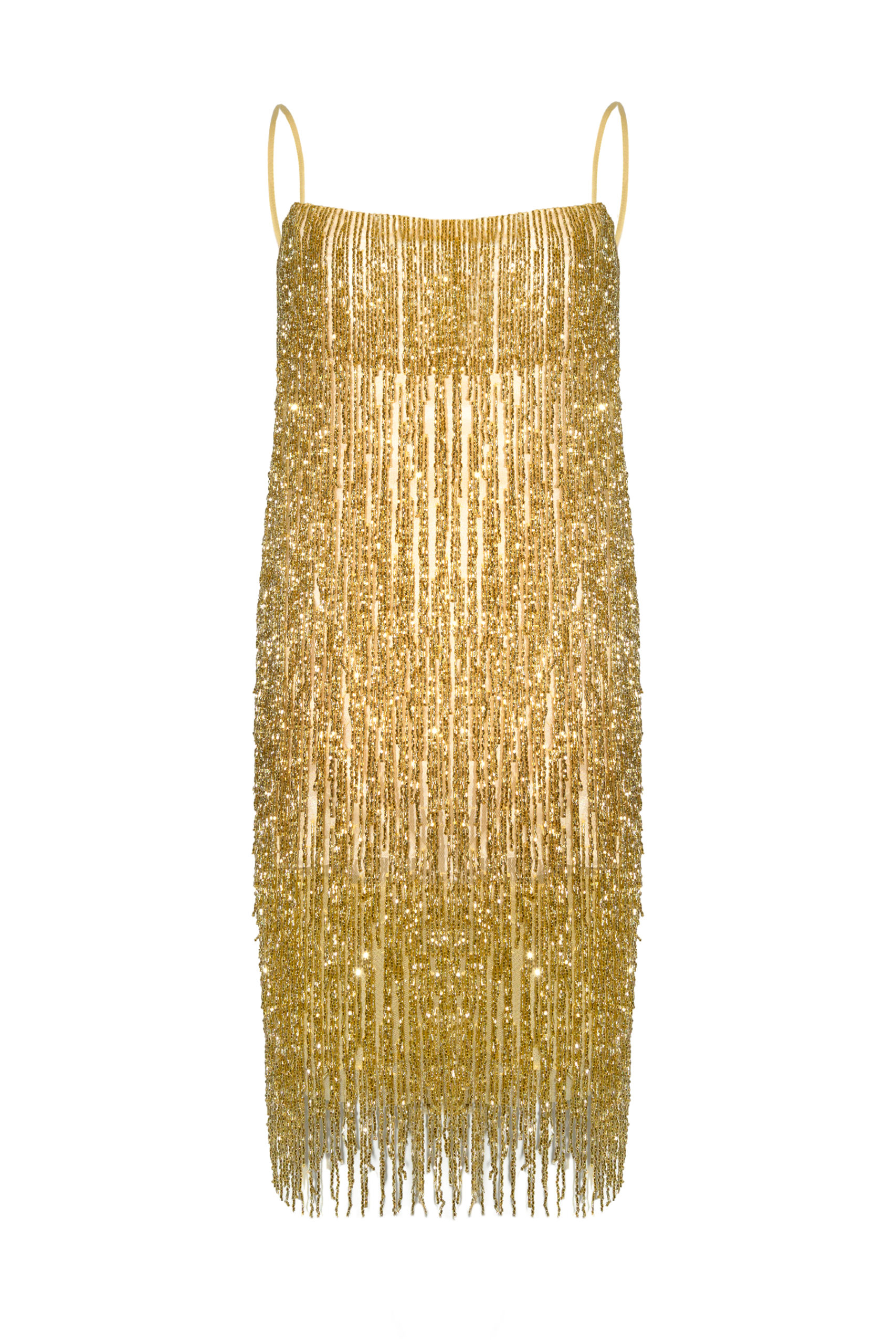 Vestido flecos ámbar dorado Crystal gold dress