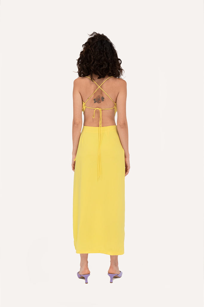 yellow skirt top with laces opening