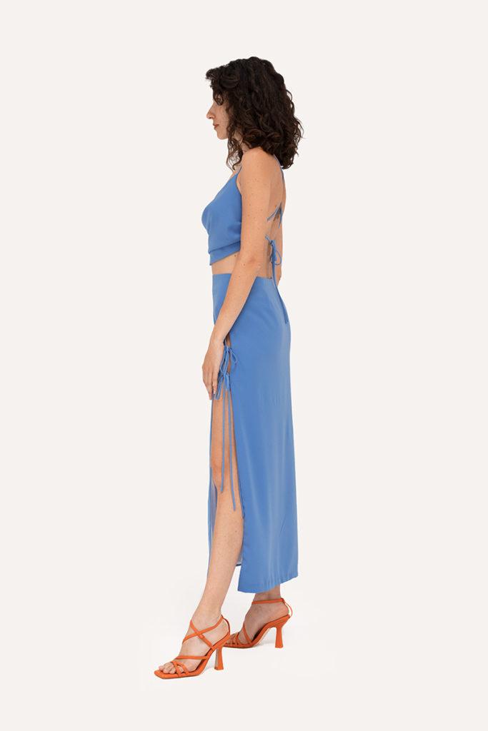 top falda azul apertura cordones