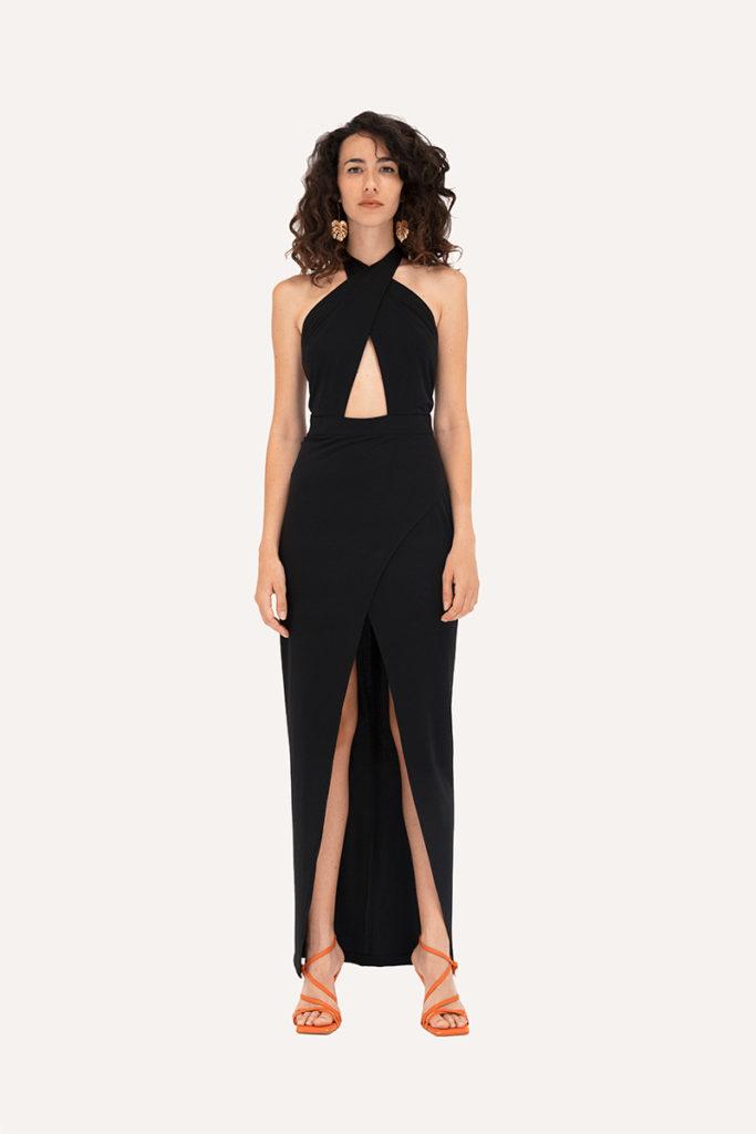 vestido negro largo con abertura