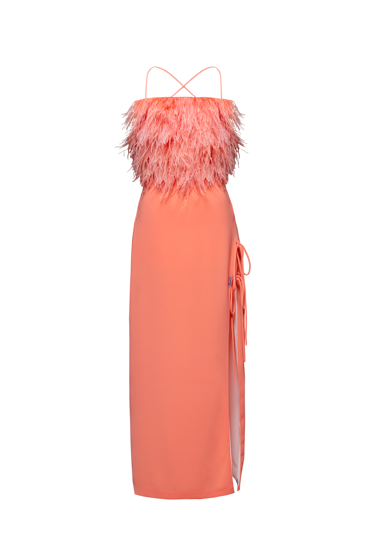 womace-lemon-crop-top-long-skirt-combo-dress-party-feathers-coral